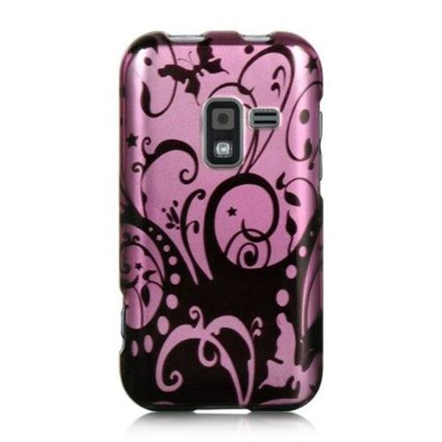 Insten Swirl Hard Rubber Case For Samsung Galaxy Attain 4G, Purple/Black