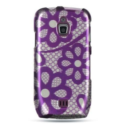 Insten Flowers Hard Rubber Coated Cover Case For Samsung Exhibit 4G T759, Purple