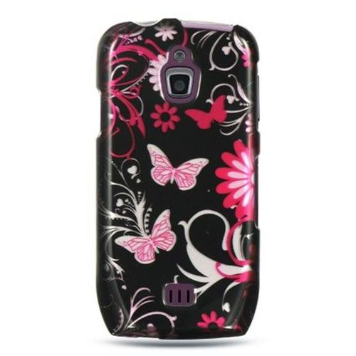 Insten Butterfly Hard Rubber Case For Samsung Exhibit 4G T759, Black/Hot Pink