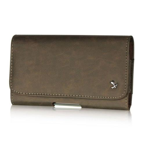 Insten Book-Style Leather Furry Case w/Belt Clip For Samsung Galaxy Note, Brown