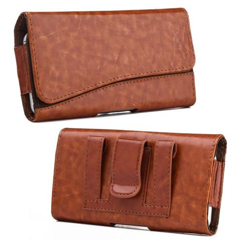 Insten Book-Style Leather Fabric Case For Samsung Galaxy Note, Brown