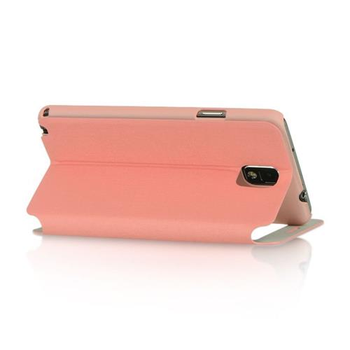 Insten Folio Leather Fabric Cover Case w/stand For Samsung Galaxy Note 3, Pink