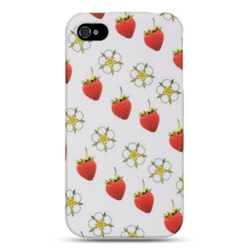 Insten Strawberry Hard Rubber Coated Case For Apple iPhone 4/4S, White/Red