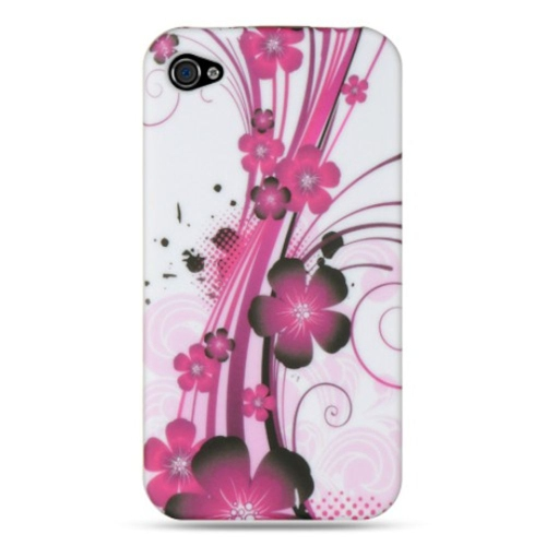 Insten Hawaii Flower Rubber Cover Case For Apple iPhone 4/4S, Purple/White