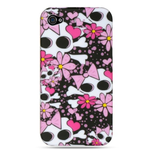 Insten Skull Rubber Case For Apple iPhone 4/4S, Hot Pink/Black