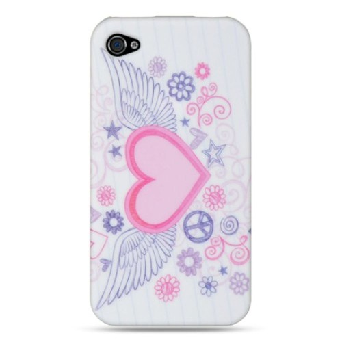 Insten Hearts Gel Case For Apple iPhone 4/4S, White/Pink