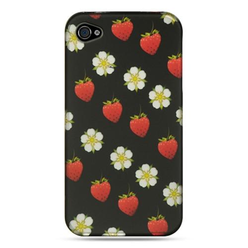 Insten Strawberry Hard Rubber Case For Apple iPhone 4/4S, Black/White