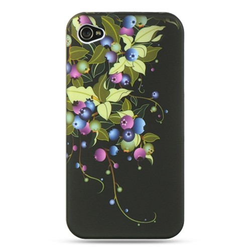 Insten Blueberry Hard Cover Case For Apple iPhone 4/4S, Black
