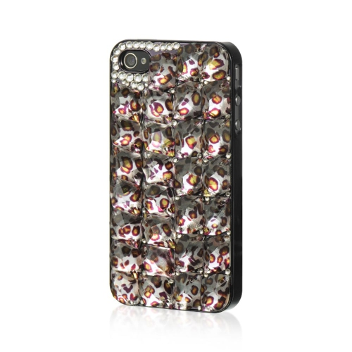 Insten Leopard Hard Rubberized Case For Apple iPhone 4/4S, Brown/Black