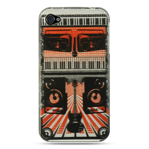 Insten Rock Out Hard Rubber Coated Case For Apple iPhone 4/4S, Orange/Black