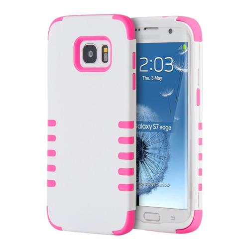 Insten Hard Dual Layer Rubberized Silicone Case For Samsung Galaxy S7 Edge, White/Pink