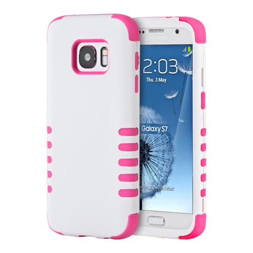 Insten Hard Hybrid Silicone Cover Case For Samsung Galaxy S7, White/Pink