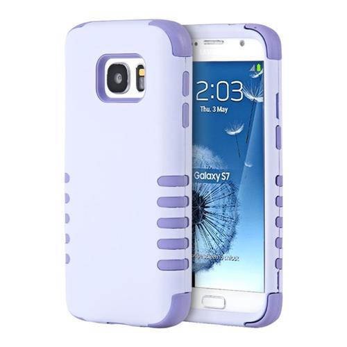 Insten Hard Hybrid Silicone Case For Samsung Galaxy S7, Light Purple/Purple
