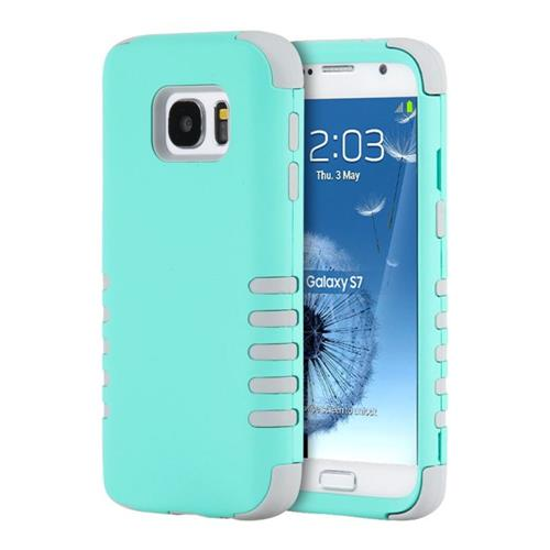 Insten Hard Hybrid Rubber Silicone Cover Case For Samsung Galaxy S7, Teal/Gray