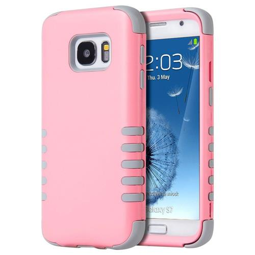 Insten Hard Hybrid Silicone Case For Samsung Galaxy S7, Light Pink/Gray