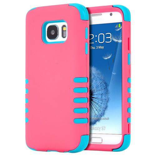 Insten Hard Dual Layer Silicone Cover Case For Samsung Galaxy S7, Hot Pink/Blue