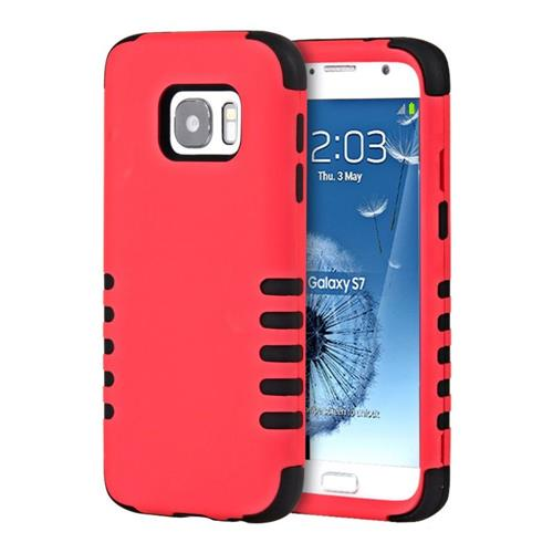 Insten Hard Dual Layer Rubber Coated Silicone Cover Case For Samsung Galaxy S7, Red/Black