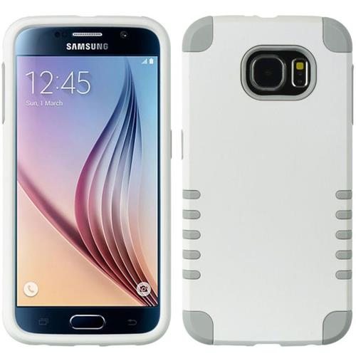 Insten Hard Dual Layer Rubber Coated Silicone Case For Samsung Galaxy S6, White/Gray