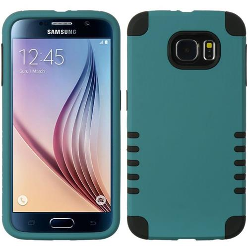 Insten Hard Hybrid Rubber Silicone Case For Samsung Galaxy S6, Green/Black
