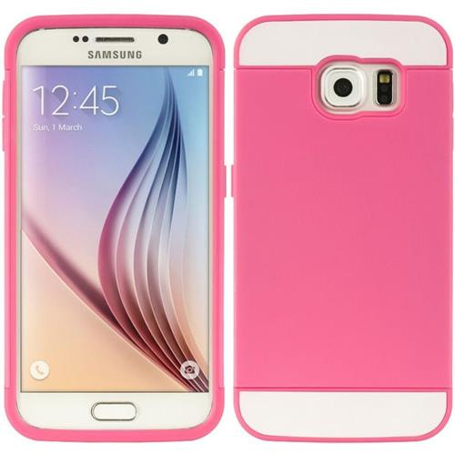 Insten Hard Dual Layer TPU Case w/card holder For Samsung Galaxy S6, Hot Pink