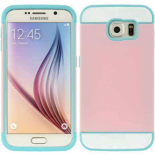 Insten Hard Hybrid TPU Cover Case w/card slot For Samsung Galaxy S6, Pink/Blue