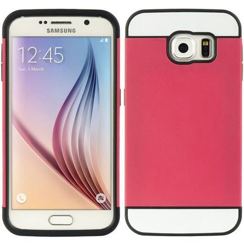 Insten Hard Hybrid TPU Case w/card holder For Samsung Galaxy S6, Red/Black