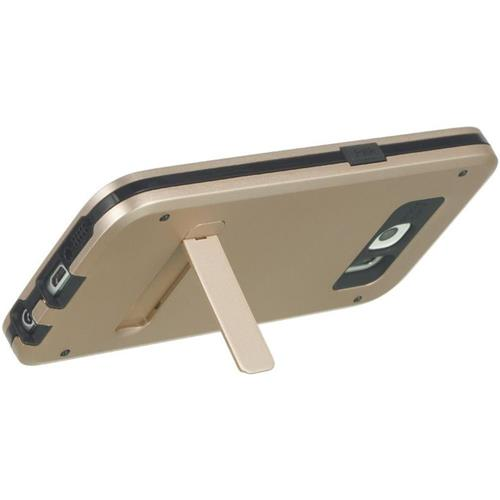 Insten Hard Hybrid Plastic TPU Cover Case w/stand For Samsung Galaxy S6, Champagne Gold/Black