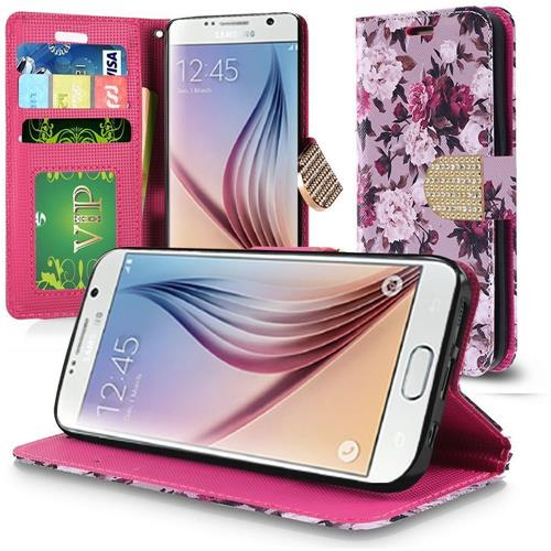 Insten Roses Folio Leather Case Lanyard w/stand/card holder For Samsung Galaxy S6, Purple/White