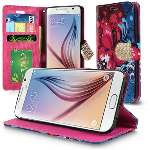 Insten Butterfly Bliss Flip Leather Case w/stand/card holder For Samsung Galaxy S6, Red/Blue