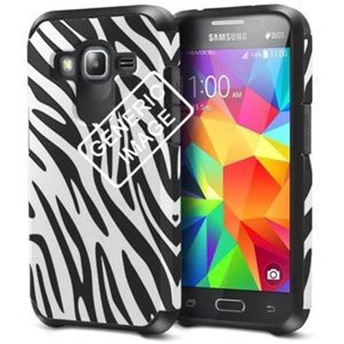 Insten Zebra Hard Hybrid Rubberized Silicone Case For Samsung Galaxy S6, Black/White