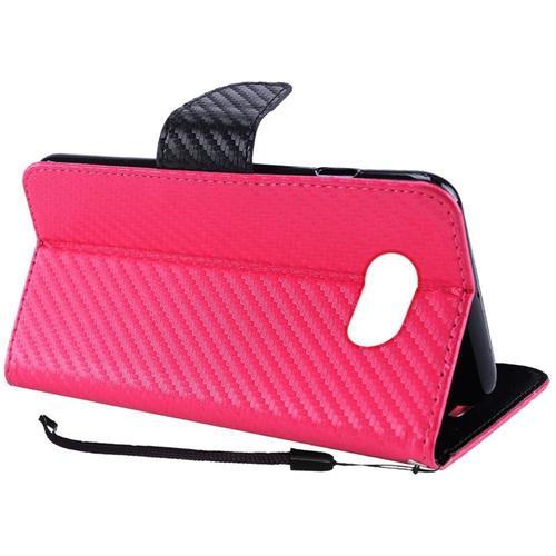 Insten Carbon Fiber Leather Case For Samsung Galaxy Amp Prime 2/Express Prime 2/J3 (2017), Hot Pink