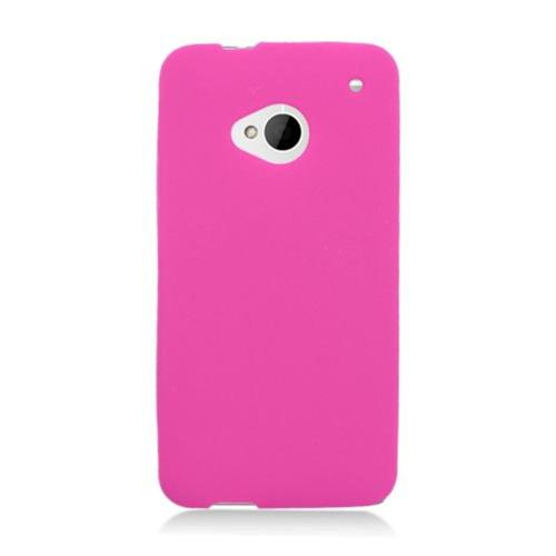 Insten Skin Rubber Cover Case For HTC One M7, Hot Pink
