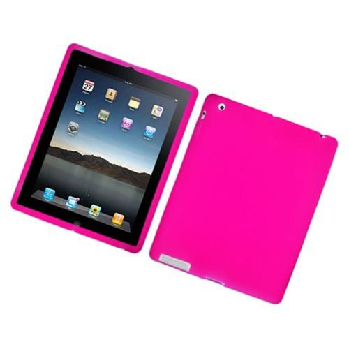 Insten Skin Rubber Case For Apple iPad 2/3/4, Hot Pink