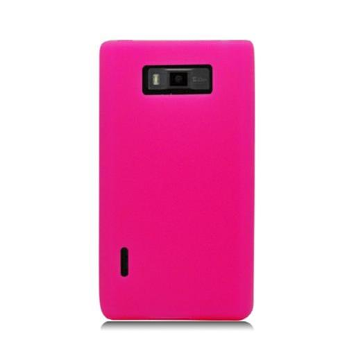 Insten Gel Rubber Case For LG Splendor US730 / Venice LG730, Hot Pink