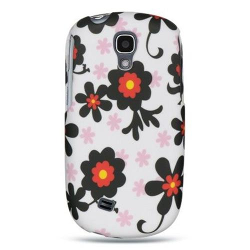 Insten Daisy Hard Rubber Coated Case For Samsung Gravity Smart, Black/White