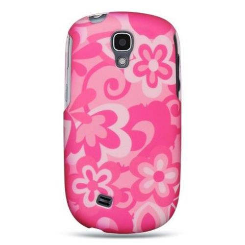 Insten Flowers Hard Rubberized Cover Case For Samsung Gravity Smart, Hot Pink/White