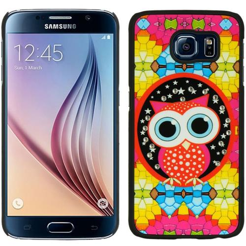 Insten Owl Hard Rubber Coated Case w/Diamond For Samsung Galaxy S6, Orange/Yellow