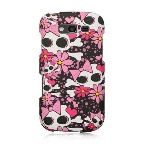 Insten Skull Hard Rubber Coated Cover Case For Samsung Galaxy S Blaze 4G, Pink/White