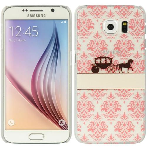 Insten Lace Couture Hard Rubberized Cover Case For Samsung Galaxy S6, Pink/White