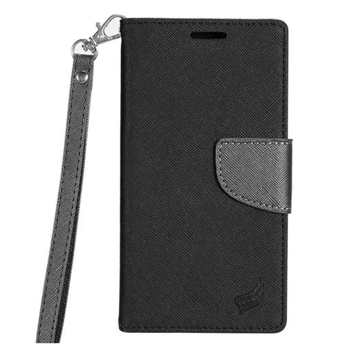 Insten Book-Style Leather Fabric Cover Case Lanyard w/stand/card slot For LG K3 (2016), Black