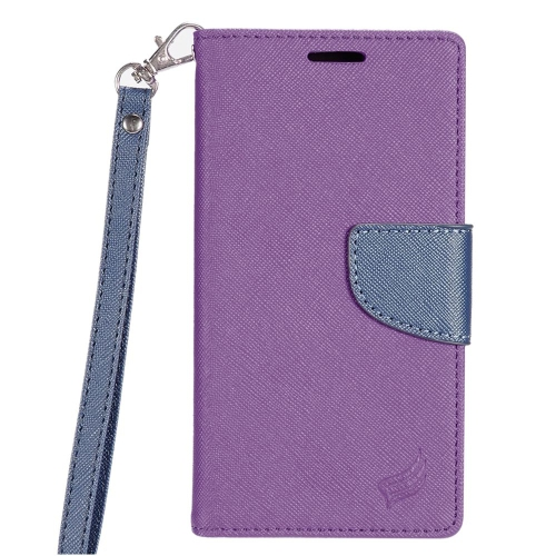 Insten Flip Leather Fabric Case Lanyard w/stand/card slot For LG K3 (2016), Purple/Dark blue