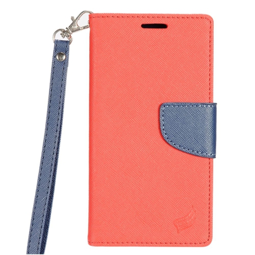 Insten Flip Leather Fabric Cover Case Lanyard w/stand/card holder For LG K3 (2016), Red/Dark blue