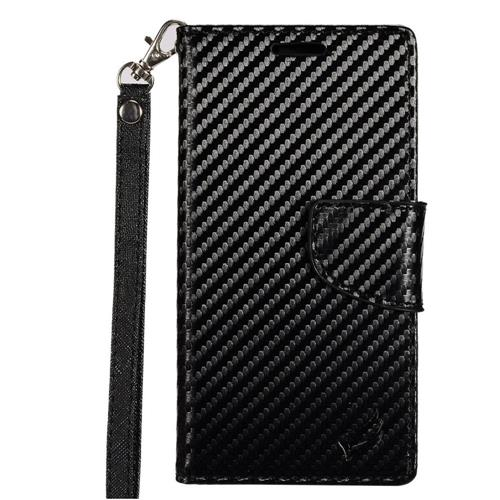 Insten Carbon Fiber Leather Fabric Case Lanyard w/stand/card holder For LG K3 (2016), Black