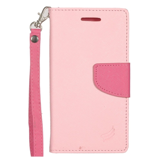 Insten Folio Leather Fabric Cover Case Lanyard w/stand/card slot For LG K3 (2016), Pink/Hot Pink