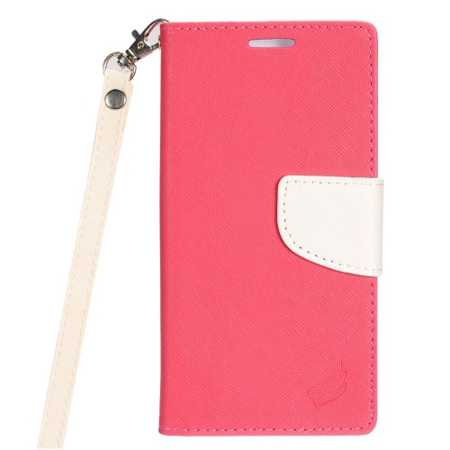 Insten Book-Style Leather Fabric Case Lanyard w/stand/card holder For LG K3 (2016), Hot Pink/White