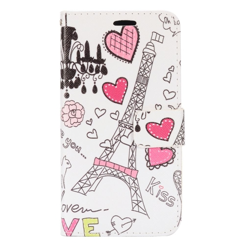 Insten Eiffel Tower Flip Leather Fabric Case w/stand/card holder For LG K3 (2016), White/Pink