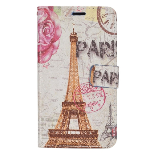 Insten Eiffel Tower Flip Leather Fabric Case w/stand/card slot For LG K3 (2016)