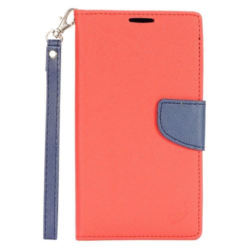 Insten Leather Fabric Case Lanyard w/stand/card holder For LG Stylo 2 Plus, Red/Dark blue