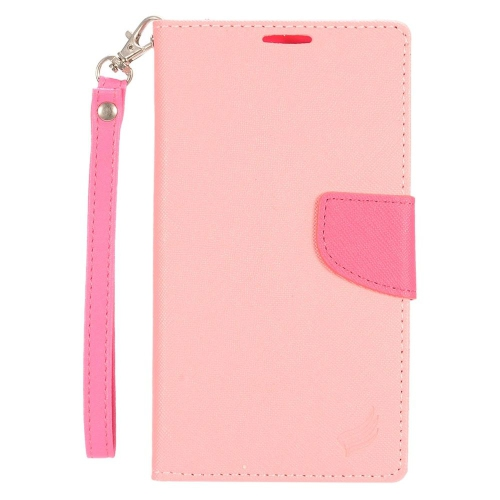 Insten Leather Fabric Case Lanyard w/stand/card holder For LG Stylo 2 Plus, Pink/Hot Pink
