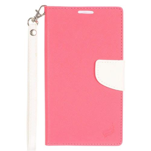Insten Folio Leather Fabric Case Lanyard w/stand/card holder For LG Stylo 2 Plus, Hot Pink/White